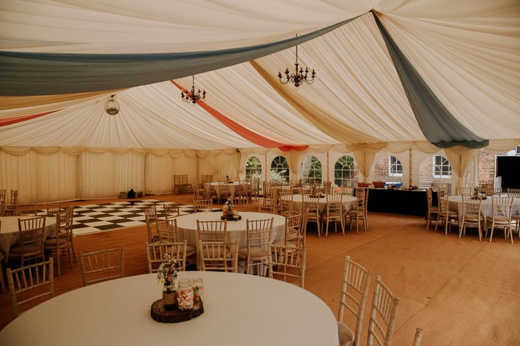 Internal view of the marquee without guests