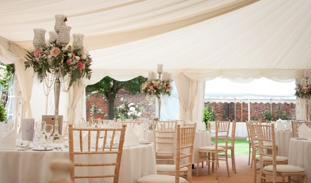 Internal view of the marquee with centre piece