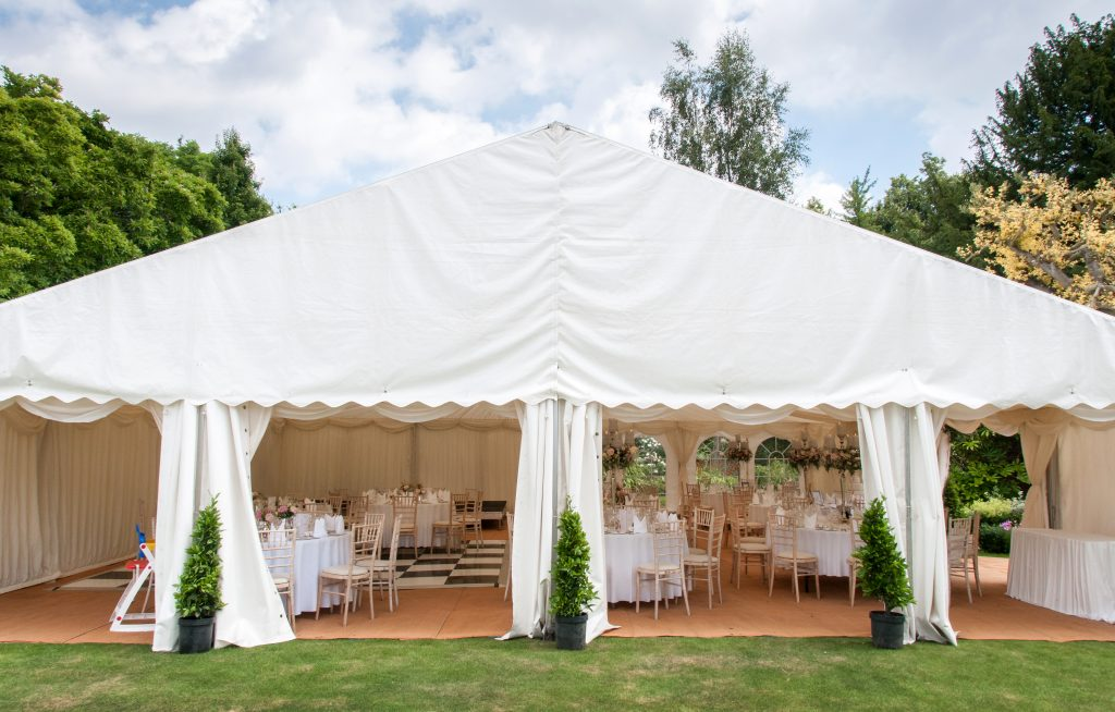 external view of the marquee with panels open