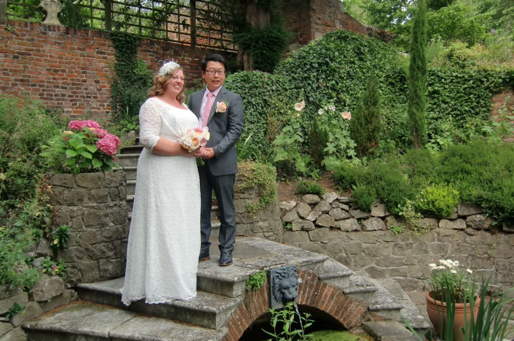 Bride & groom at the pond area